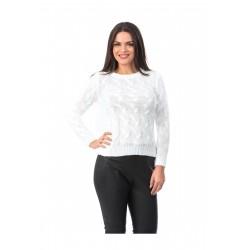 Pulover alb tricotat
