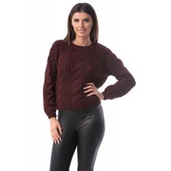 Pulover tricotat grena Giulia