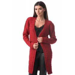 Cardigan lung rosu Emilly