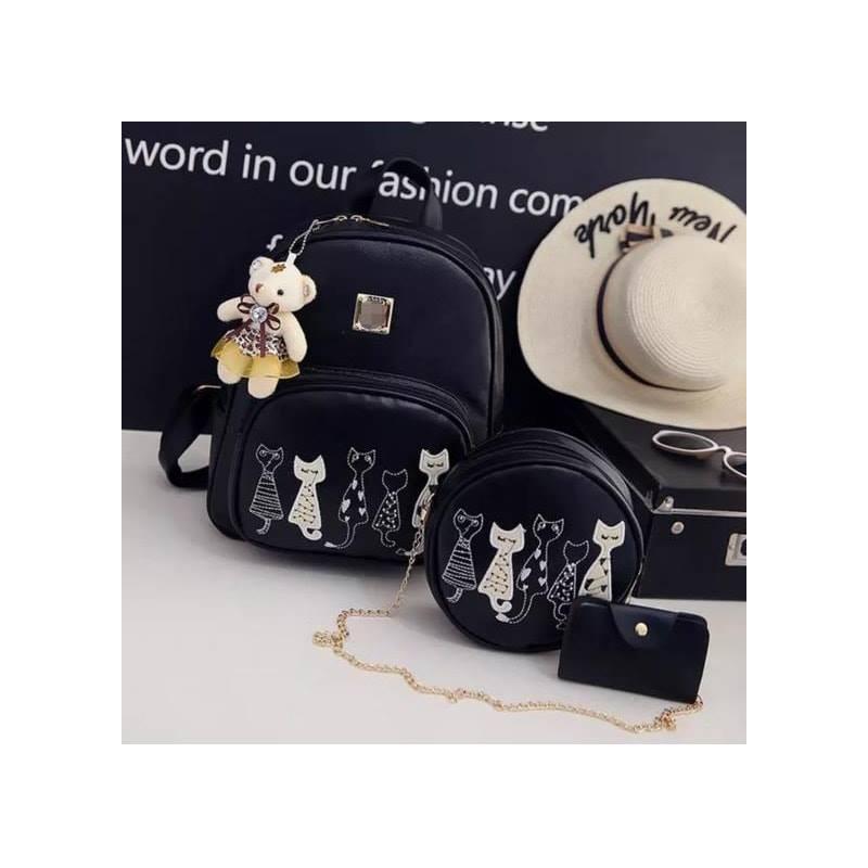 Set rucsac negru Pisicutele aristocrate