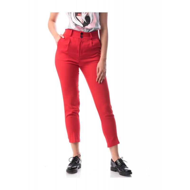 Pantaloni rosii casual-office Chloe+curea cadou