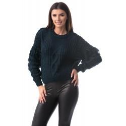 Pulover bleumarin tricotat cu torsade
