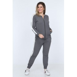 Trening plus size gri melange Terry Chris