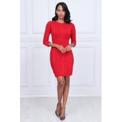 Rochie rosie tricotata cu nasturei