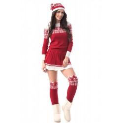 Set tricotat cu caciula,rochie si ciorapi