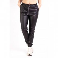 Pantaloni piele ecologica cu fermoar si talia elastica