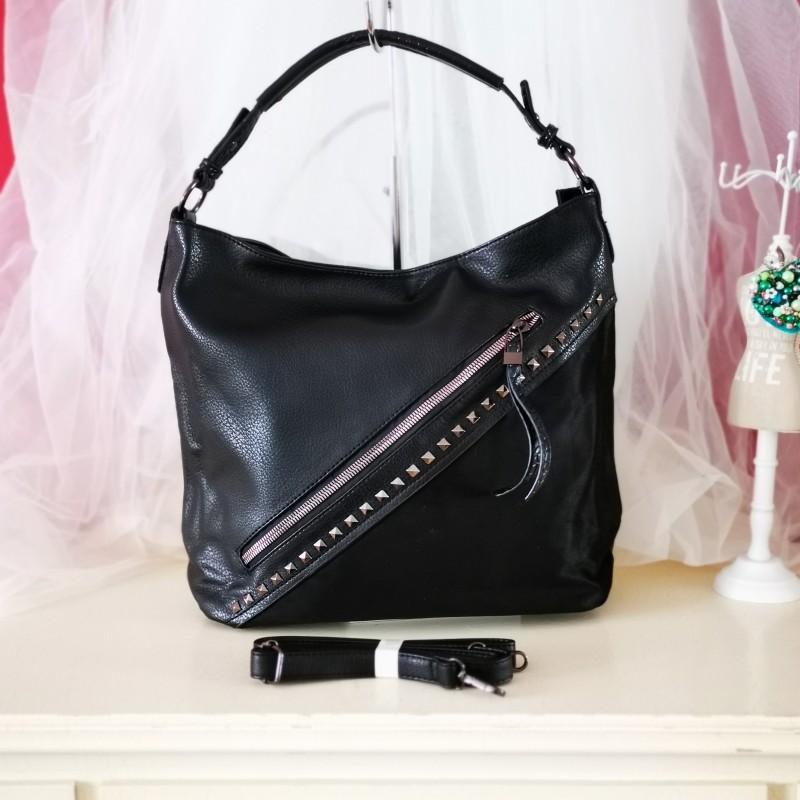 Geanta neagra din piele eco Modern Look