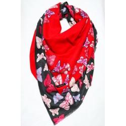 Sal din casmir, rosu cu fluturi multicolori