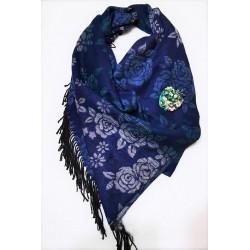Sal casmir, fular lung, Blue Roses, bleumaren