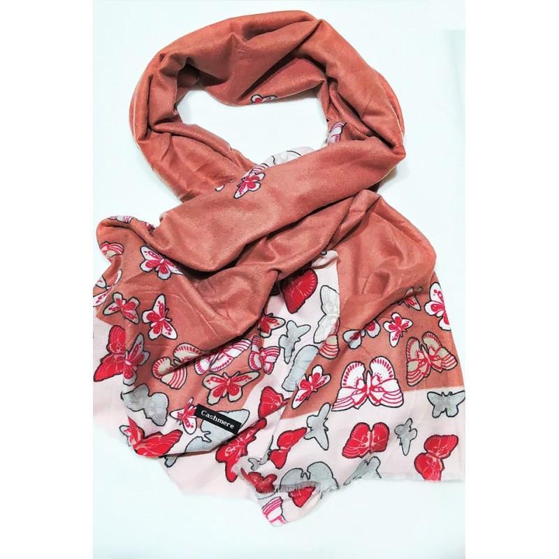 Sal din casmir, roz melange cu fluturi multicolori