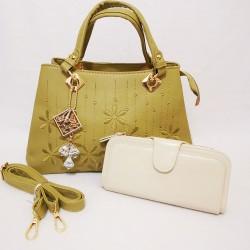 Set geanta kaki cu portofel