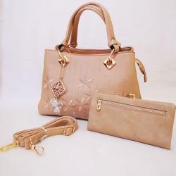 Set geanta bej cu portofel