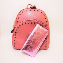 Set cu rucsac si portofel,roz,piele ecologica