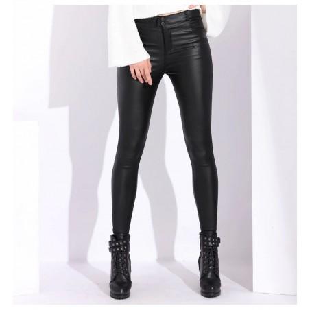 Pantaloni piele ecologica Skin vatuiti pe interior