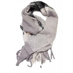 Fular calduros cu franjuri Black & Grey