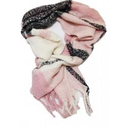 Fular calduros cu franjuri Black & Pink