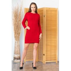 Rochie rosie tricotata cu maneci lungi