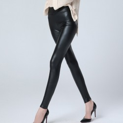 Pantaloni piele ecologica cu talia inalta
