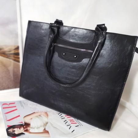 Geanta Work & Shop,neagra, piele ecologica