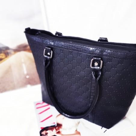 Geanta 3D Design,neagra,piele ecologica, shopper