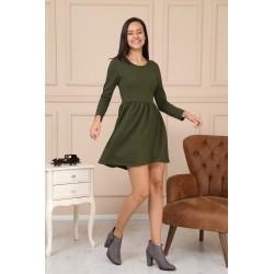 Rochie Pretty casual,kaki, din bumbac cu maneci lungi