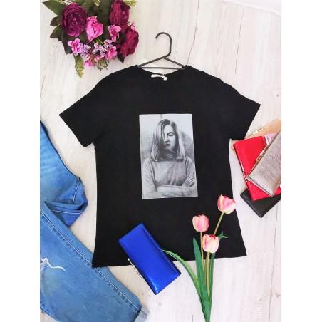 Tricou negru cu imprimeu vintage, vascoza