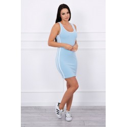Rochie sport albastra, dungi laterale, bumbac