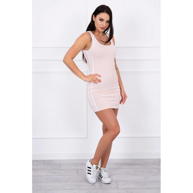 Rochie sport roz, dungi laterale, bumbac