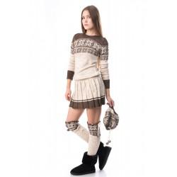Set Craciun,tricotat cu rochie,jambiere si caciula