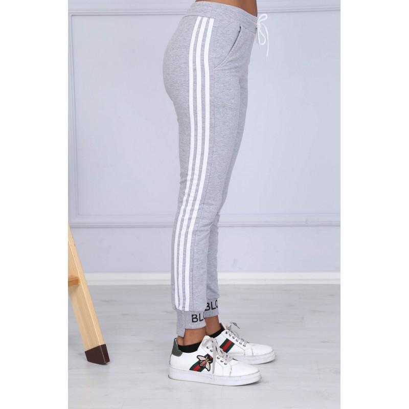 Pantaloni trening Blow din bumbac, gri cu dungi albe
