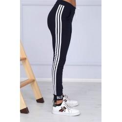 Pantaloni trening Blow din bumbac, negru cu dungi albe