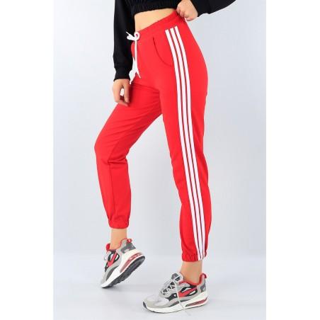 Pantaloni trening cu dungi albe, rosii
