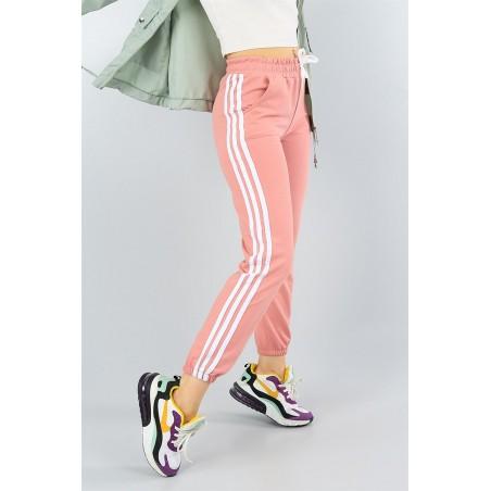 Pantaloni trening cu dungi albe,roz