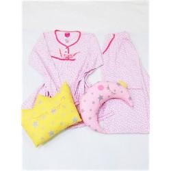 Pijama marimi mari 100%bumbac, alb cu roz