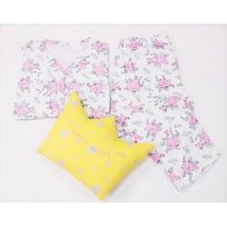 Pijama dama,100% bumbac, marimi mari, imprimeu floral roz