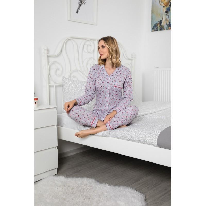 Pijama Lux 100% bumbac, imprimeu floral, gri