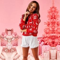 Pulover rosu tricotat de Craciun