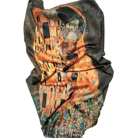 """Esarfa casmir pictura """"Sarutul"""" de Klimt"""