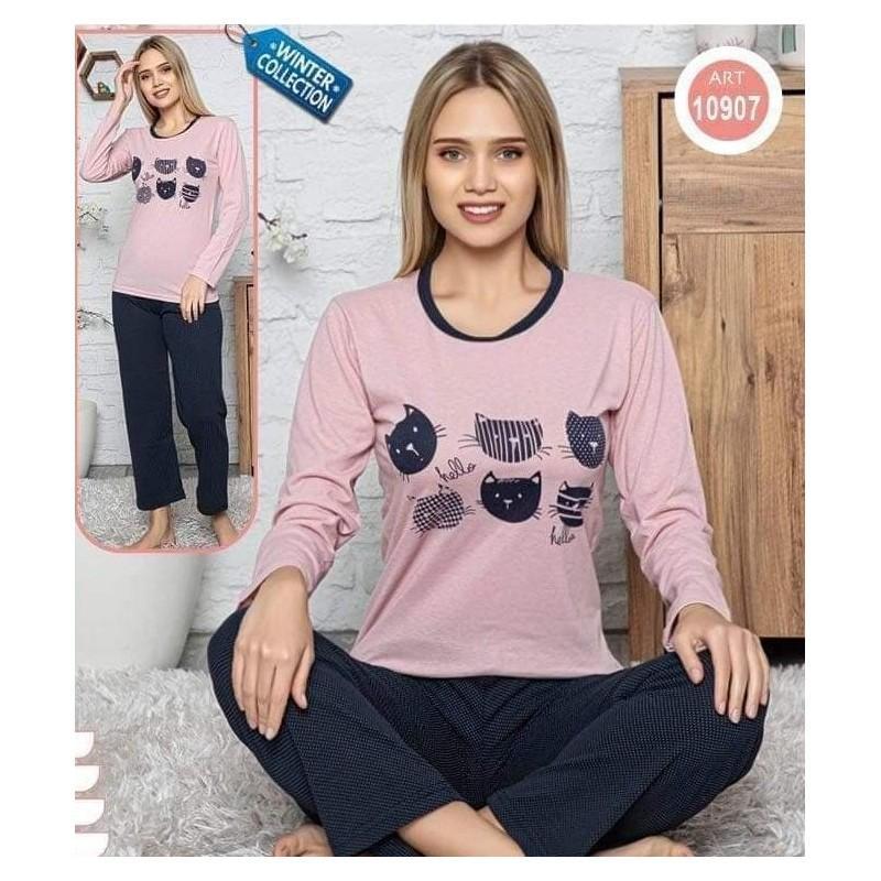 Pijama dama din bumbac cu pisicute