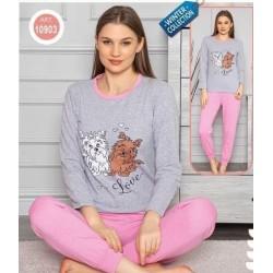 Pijama dama din bumbac cu catelusi