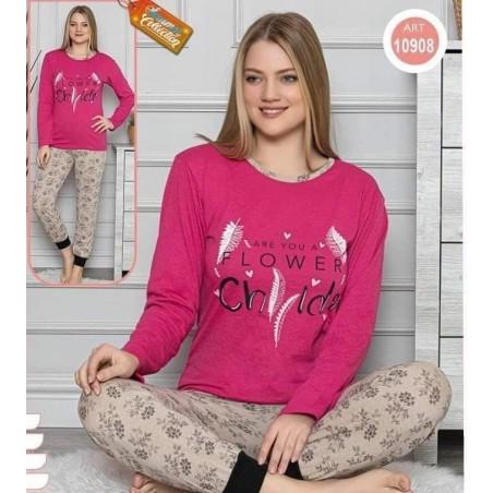Pijama dama, bumbac, model pene