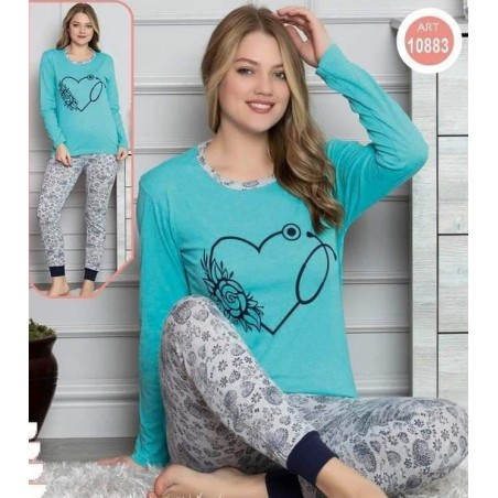 Pijama dama, bumbac, model cu inima