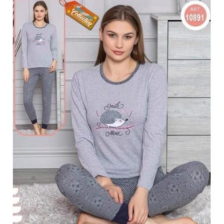 Pijama dama, bumbac, model cu arici