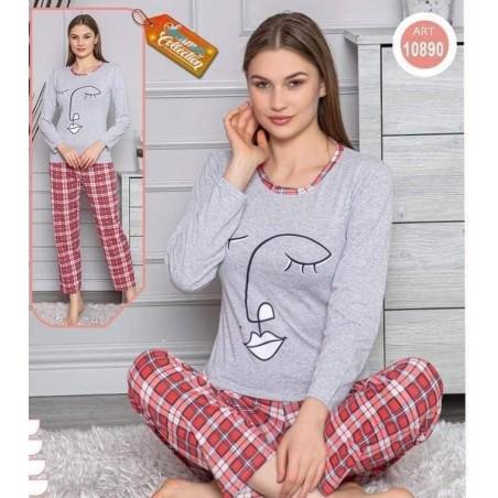 Pijama dama, bumbac, model cu chip feminin