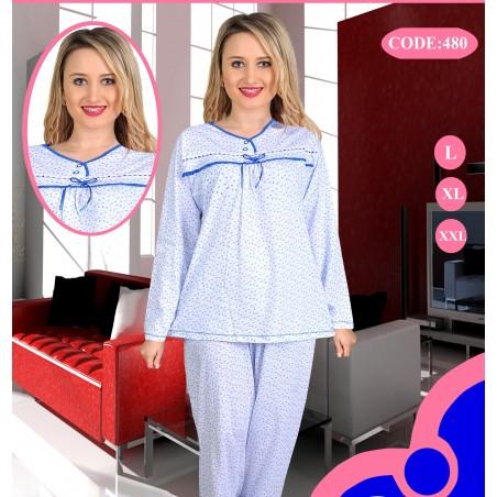 Pijama marimi mari 100%bumbac, alb cu albastru