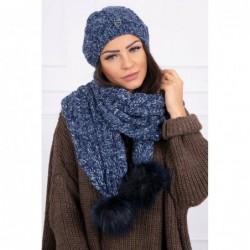 Set tricotat cu fular si caciula Blue