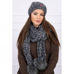 Set tricotat cu fular si caciula Dark Grey