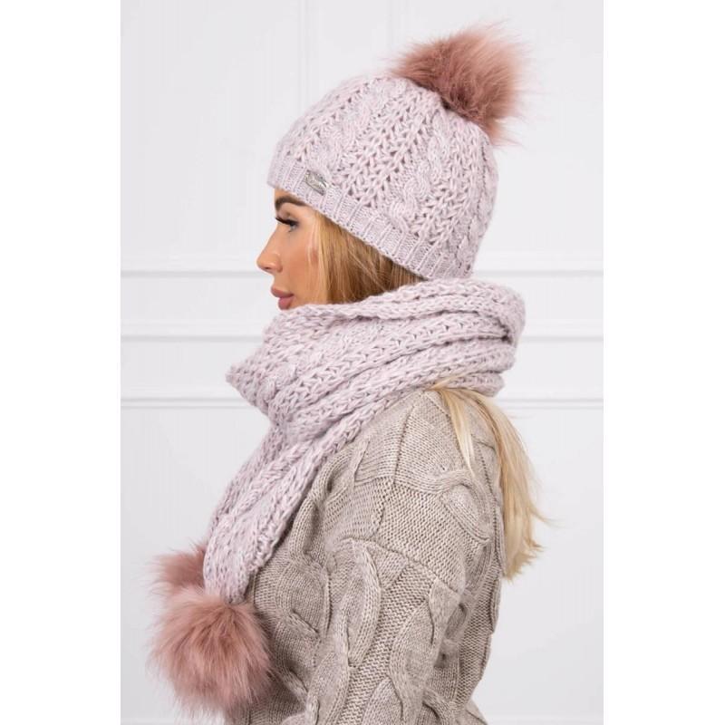 Set tricotat cu fular si caciula Pink Melange