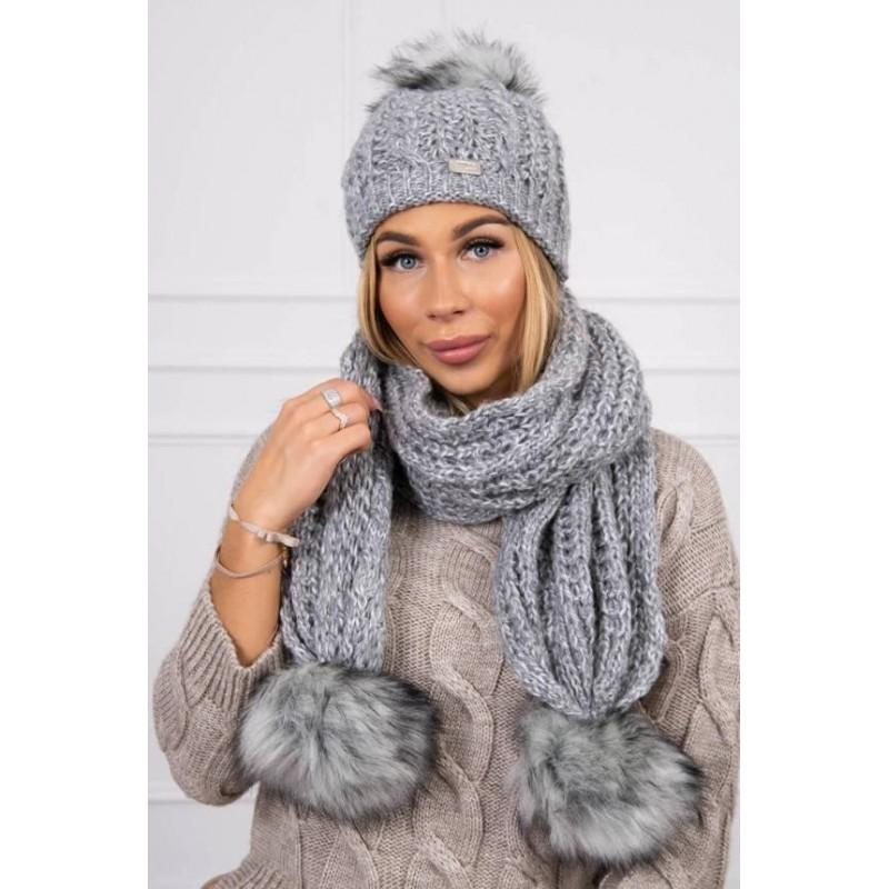 Set tricotat cu fular si caciula Grey Melange