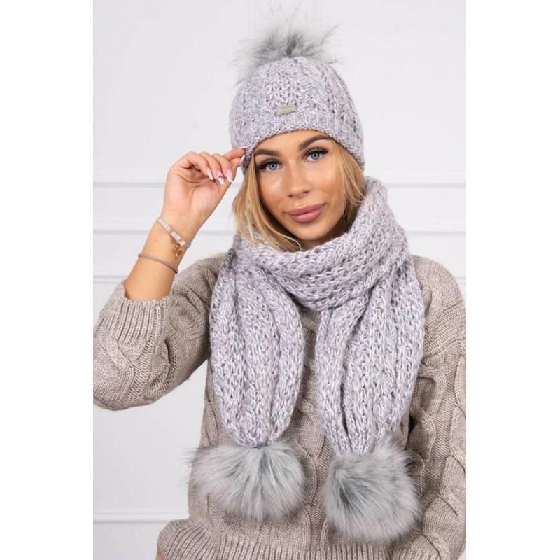 Set tricotat cu fular si caciula Grey Pink